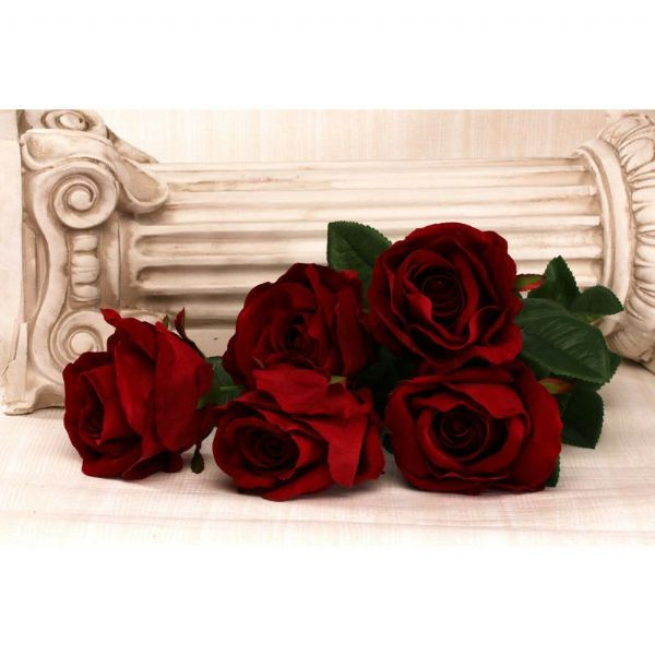 Five Velvet Large Roses Red 50cm
